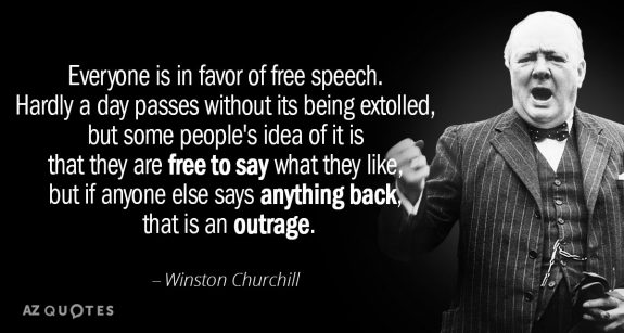 Speech is never free …